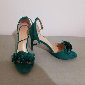 Green heeled sandals